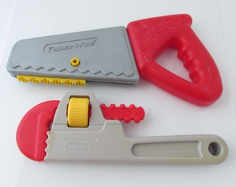 Fisher-Price Little Tikes Toy Tools Pipe Wrench Saw 1990s