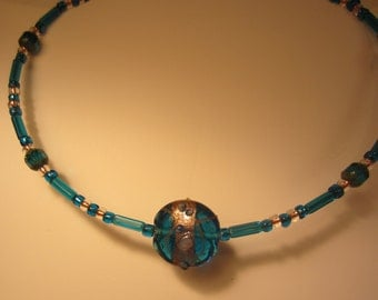 Teal Blue & Gold Lampwork Focal Bead. Beautiful Handmade Beaded MemoryWire Necklace.  All Glass Beads.