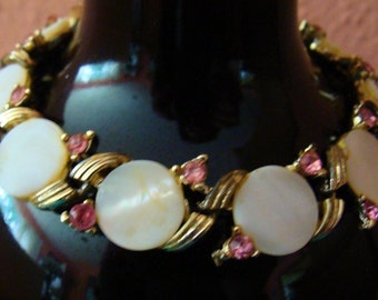 Vintage Coro gold tone mother of pearl and pink rhinestone bracelet