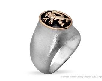 Beautiful New Judaica Mens Ring Sterling Silver Gold Lion Of Judah Handmade Jewelry