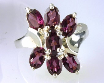 Natural Raspberry Rhodolite Seven Stone Ring 925 Sterling Silver