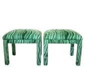 Malachite Parsons Benches, Pair