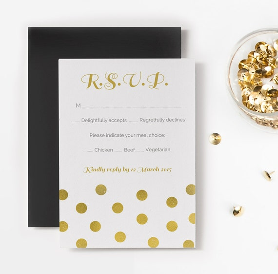 Items similar to Gold Confetti Printable RSVP