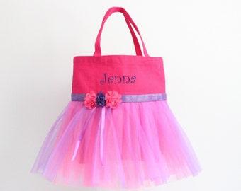 "Tutu Bag, Dance Bag, Tutu Tote bag, Girls Purse, Hot Pink, Purple, Girl's Personalized Tote Bag, ""Follow your Dreams"""