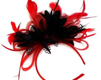 Scarlet Red & Black Feathers Fascinator On Headband
