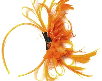 Orange Fascinator on Headband AliceBand UK Wedding Ascot Races Loop