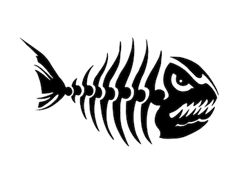 Fish Skeleton Decal - Fishing Decal - Outdoorsman Fish Sticker - Fish Silhouette Sticker