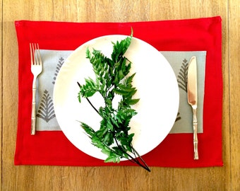 Christmas fabric Placemat - Set of 6, Red and Grey Table Mats