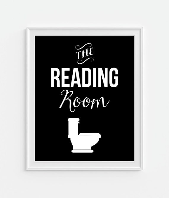 Bathroom decor 39 the reading room 39 humorous funny by for Funny bathroom decor