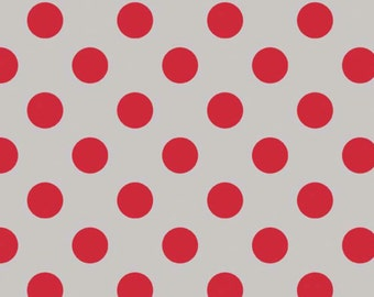 SALE-- Medium Dot-- Gray/Red--One Yard- Riley Blake