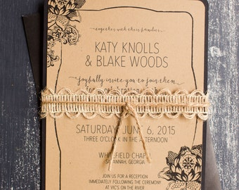 Rustic Elegance lace printable wedding invitation photoshop template, customizable colors