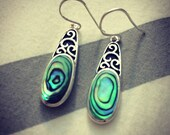 Abalone Shell and Silver Filigree Earrings