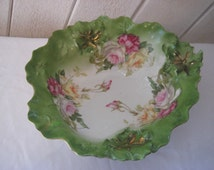 Large decorative bowl, Raised flowers, 3D textured bowl, pink roses, ornate pink green bowl, M. Z. Made in Austria