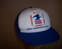 80s US Mail Post Office snapback cap advertising hat United States Syracuse New York Safety employee
