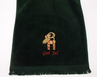Scandinavian Swedish Norwegian Danish Embroidered Christmas God Jul Straw Goat Towel FT23
