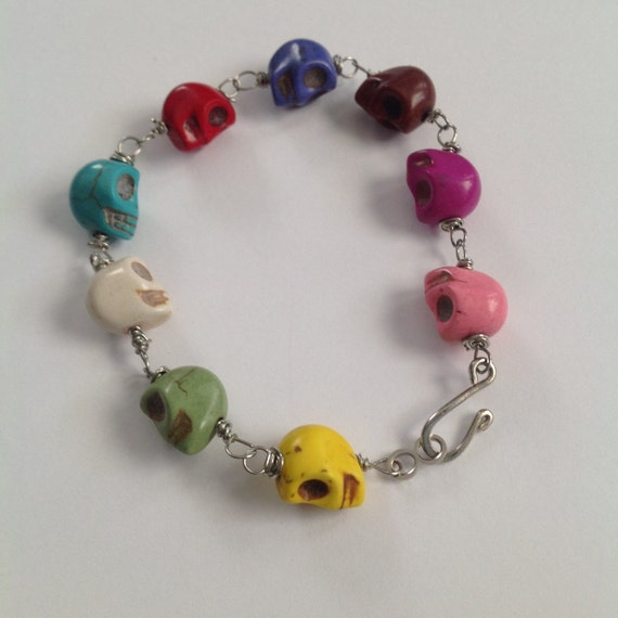 multi colored skulls beaded bracelet by lavendermoonjewels