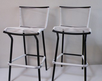 Tropitone Corded Bar Stools Black and White (Pair)
