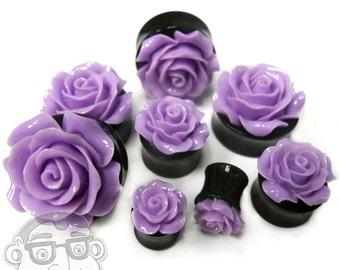 Purple Rosebud Black Plugs - Sizes / Gauges 0G - 1 Inch Sold In Pairs - NEW!