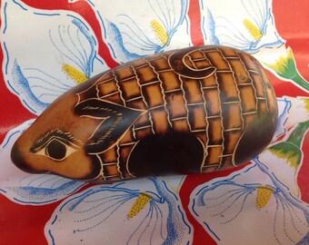 Vintage hand decorated armadillo folk art gourd shaker