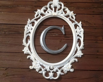 framed initial large oval frame with capital wall letter you choose color and letter