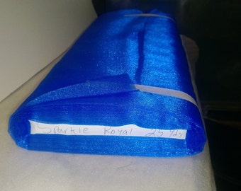 """Sparkle Organza Fabric - Royal Blue, 45"""" x 1 Yard"""