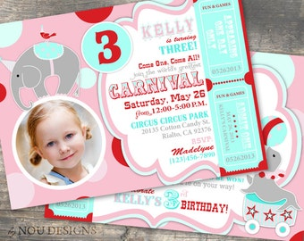 Pink Circus Animals: Elephants, Lions, and Seals Birthday Party Invitation Card- Printable File