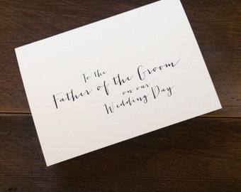 To the father of the Groom on our wedding day