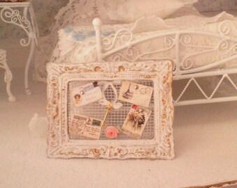 dollhouse shabby chic memory board-1/12 scale