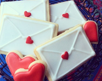 Love Note & Hearts Shortbread Cookies - 1 Dozen