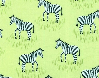 Citron Zebra Fabric - From Citron Gray Collection  by Michael Miller CX 6549 Lemon Gray -  1/2 yard