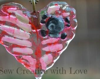 Blood Splatter Ribcage Heart Necklace, Skeleton Heart Necklace, Resin Ribcage Necklace, Blood Splatter Heart, Ribcage Jewlery Skull Jewelry
