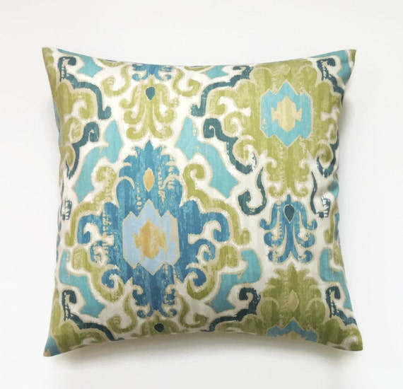 Decorative Pillows Blue Green : Blue and Green Ikat Pillow 18x18 Pillow Cover by ThePillowToss