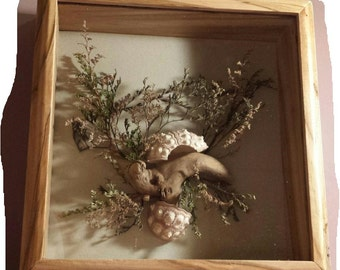 Handmade Shadow Boxed Floral Art