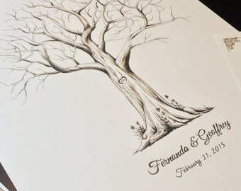 Hand Drawn Fingerprint Tree - includes 2 ink pads!! - Custom Wedding Guestbook - Thumbprint Guest Book Alternative (Medium Size Monochrome)