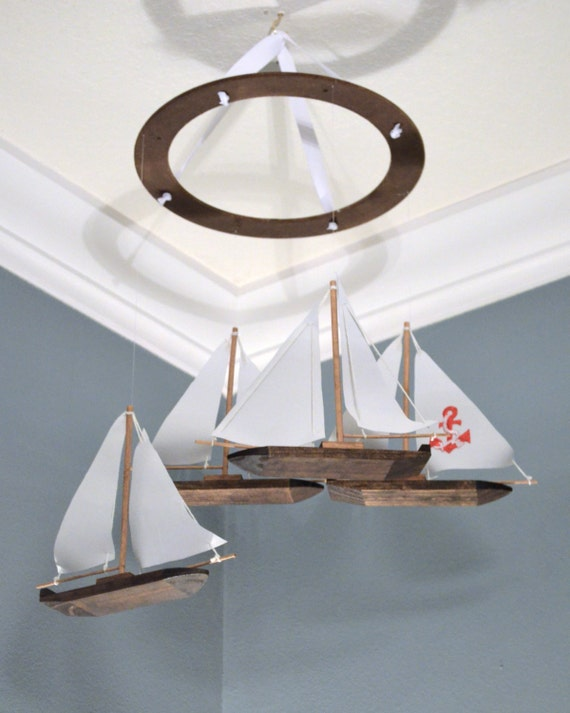 Sailboat nursery mobile nautical anchor wood fabric appliqu for Nautical nursery fabric