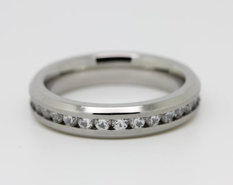 4mm Full Eternity ring - stacking ring in white gold or titanium with stunning white Sapphire gemstones - engagement  - wedding band