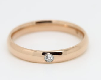 Comfort Fit 3mm Wide, 18ct Rose Gold filled Plain band Wedding Ring with white sapphire gemstone