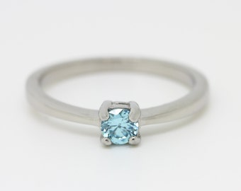Aquamarine Solitaire engagement ring - in white gold or titanium - wedding ring - gemstone ring