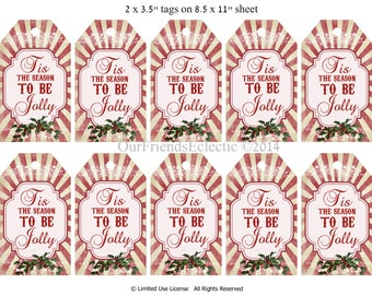 Printable Christmas tags, digital christmas tags, tis the season to be jolly, vintage xmas tags, red holly, instant download