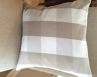 16 x 16 Beige Buffalo Check Pillow Cover