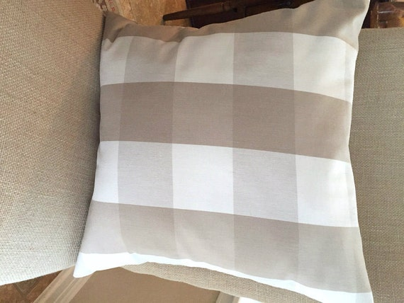 16 x 16 beige buffalo check pillow cover. Black Bedroom Furniture Sets. Home Design Ideas