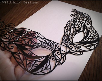 Beautiful Gothic Masquerade Mask Paper Cutting Template for Personal or Commercial Use Papercutting Cut by Wildchild Designs