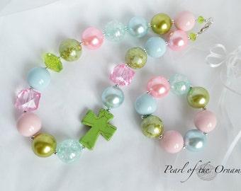 Green pink blue pastel chunky necklace bracelet set Easter girl baby smash cake 1st birthday cross spring flower girl gift bubblegum