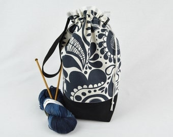 Knitting Project Bag - Two Skein Bag - Crochet  Bag - Cotton –  Print