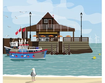 BROADSTAIRS. Art poster of Broadstairs Harbour and Beach. An English Seaside Town in Kent. A4, A3, A2 Travel Poster