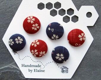 Fabric Covered Buttons - 6 x 18mm buttons, handmade button, red button, navy blue button, cherry blossom button, japanese sakura button 0792