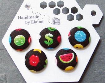 Fabric Covered Buttons - 5 x 22mm buttons, handmade button, kawaii buttons, cute buttons, emoticon button, emoji button, cartoon button 1244