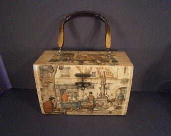 Vintage Wooden Box Purse From the 1970's With Illustration Art of Dutch Artist Anton Pieck