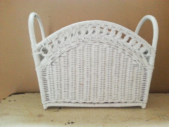White Wicker Magazine Basket Rack End Handles By