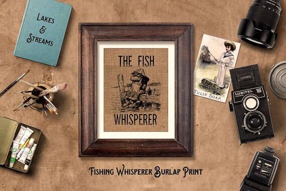 Burlap Print | Old Guy Fishing | Vintage Illustration | Fishing Whisperer | Customizable | #0015